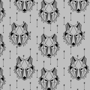 Geometric Wolf + Arrows (gray) Geo Wolves Woodland Animals Baby Boy Nursery Bedding B