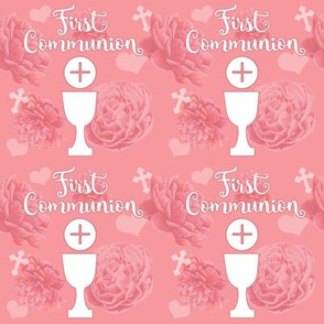 First Communion pink floral