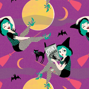 Vintage Halloween Pin Up Witch Girl // purple green moon black cat sexy cute retro saucy leopard print bat