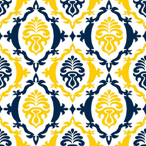 Yellow and blue team color Damask