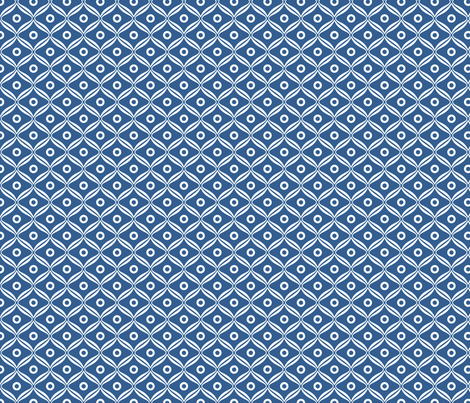 Talavera - Rounded Diamonds - White/Blue fabric by ameliae on Spoonflower - custom fabric