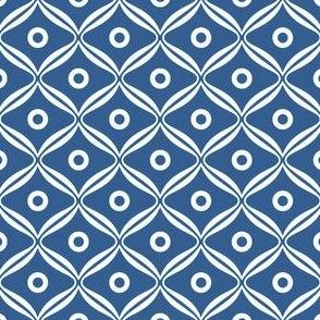 Talavera - Rounded Diamonds - White/Blue