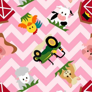 Farm Animal Chevron Pink