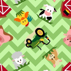 Farm Animal Chevron Green