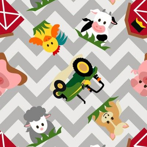 Farm Animal Chevron Grey