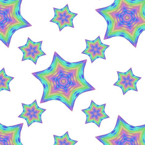 Painted_Rainbow_Star_c fabric by karwilbedesigns on Spoonflower - custom fabric