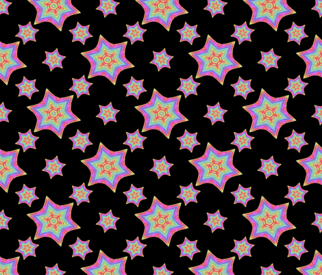 Painted_Rainbow_Star_blk_d fabric by karwilbedesigns on Spoonflower - custom fabric
