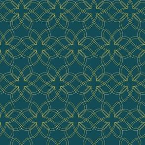 Teal-Seamless-Interlocking-Flowers