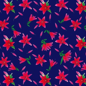 Red Stargazers on Blue Upholstery Fabric