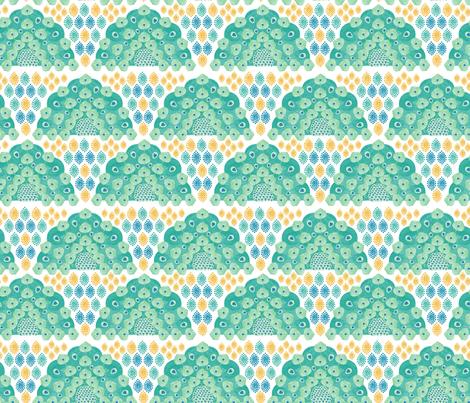 peacock pointillism art : medium size fabric by y_me_it's_me on Spoonflower - custom fabric