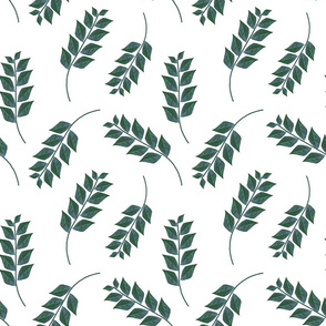Small Green  Branches on White Upholstery Fabric