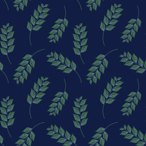 Branches on Dark Blue Upholstery Fabric