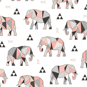 Elephants Geometric with Triangles Peach 4 inch Large