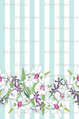 White Orchids on Aqua Stripes 150