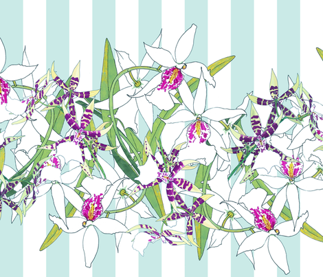 White Orchids on Aqua Stripes 150 fabric by kadyson on Spoonflower - custom fabric