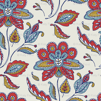 Vintage Ornate Flower - multi blue