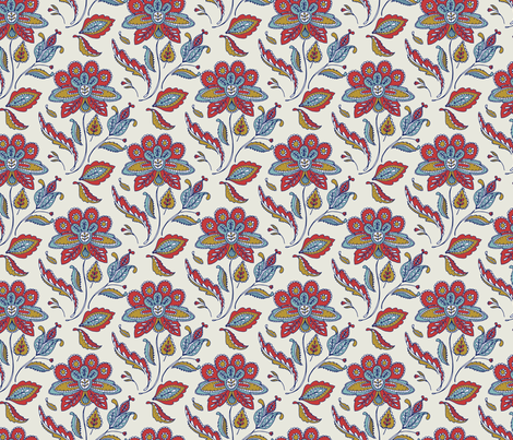 Vintage Ornate Flower - multi blue fabric by katybobsyouraunty on Spoonflower - custom fabric