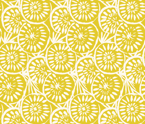 Painted-Medallions_Yellow02 fabric by crystal_walen on Spoonflower - custom fabric