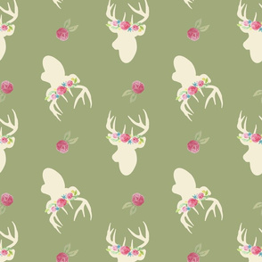 Deer_And_Flowers_Repeat_Green