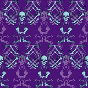 Skeleton Damask-purple and teal
