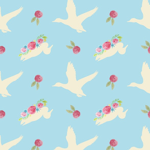 Duck_and_Flowers_Repeat_Blue