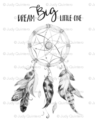 "56""x72"" Dream Big Little One / DreamCatcher Black & White"