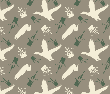 Duck_and_Grass_Repeat_Brown fabric by rick_rack_scissors_studio on Spoonflower - custom fabric