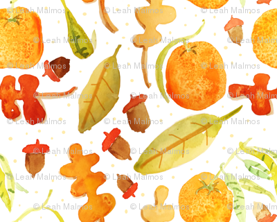 Satsuma and fall leaves watercolor