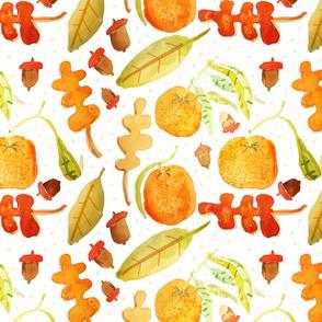 Satsuma and fall leaves watercolor