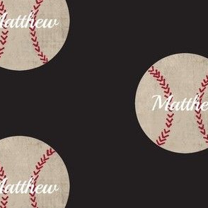 baseball vintage smooth black Large467 - PERSONALIZED Matthew