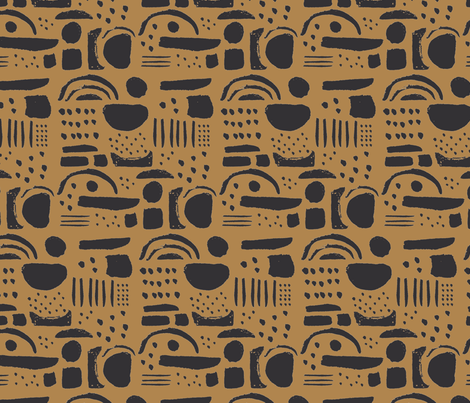 Blobby Shapes / Mustard fabric by francesandtheo on Spoonflower - custom fabric