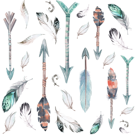 "8"" ARROWS & FEATHERS / TEAL & CORAL fabric by shopcabin on Spoonflower - custom fabric"
