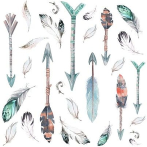 "8"" ARROWS & FEATHERS / TEAL & CORAL"