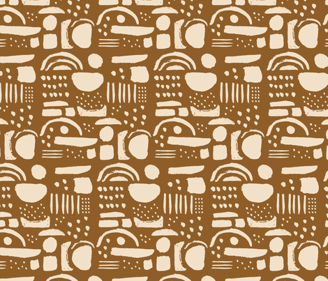 Blobby Shapes / cream on mustard fabric by francesandtheo on Spoonflower - custom fabric