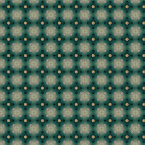 Dots and Flowers in teal