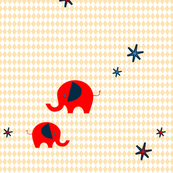 retro diamond circus elephants - light