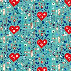 Scandi folk heart blue