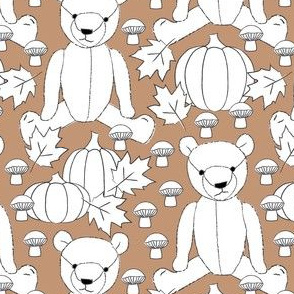 white fall teddy bears on brown