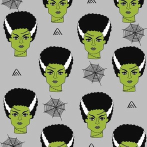 Bride of frankenstein halloween character cute seasonal fall october fabric // grey by andrea lauren