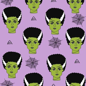 Bride of frankenstein halloween character cute seasonal fall october fabric // purple by andrea lauren