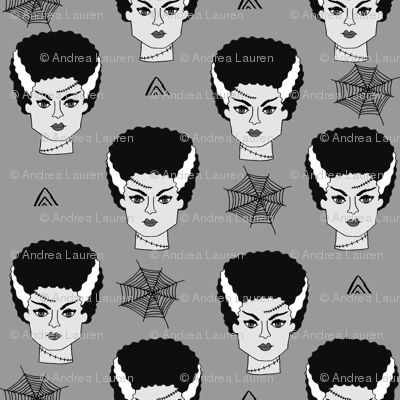 Bride of frankenstein halloween character cute seasonal fall october fabric // grey and white by andrea lauren