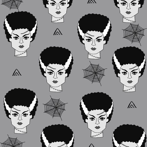 Bride of frankenstein halloween character cute seasonal fall october fabric // grey and white by andrea lauren fabric by andrea_lauren on Spoonflower - custom fabric