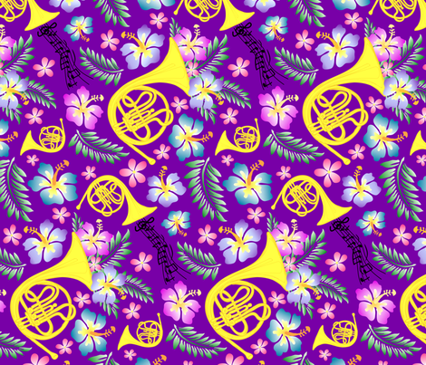 Royal Purple Horn fabric by fleurette7 on Spoonflower - custom fabric