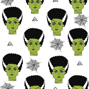 Bride of frankenstein halloween character cute seasonal fall october fabric // white green by andrea lauren