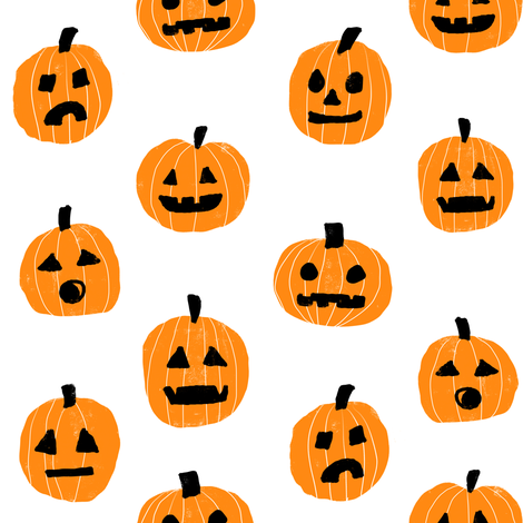 pumpkin halloween cute fabric  jack-o'-lantern white orange fabric by charlottewinter on Spoonflower - custom fabric