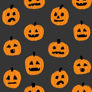 pumpkin halloween cute fabric  jack-o'-lantern grey