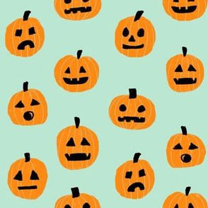 pumpkin halloween cute fabric  jack-o'-lantern minty