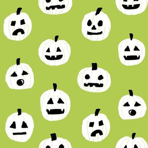pumpkin halloween cute fabric  jack-o'-lantern bright green