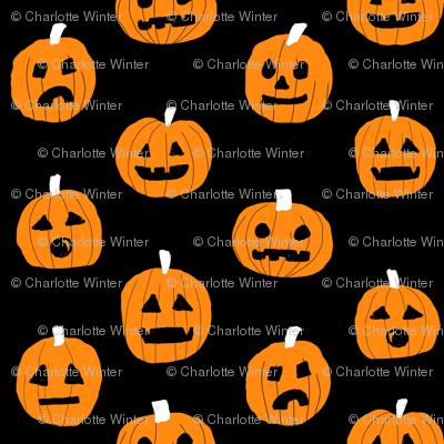 pumpkin halloween cute fabric  jack-o'-lantern black