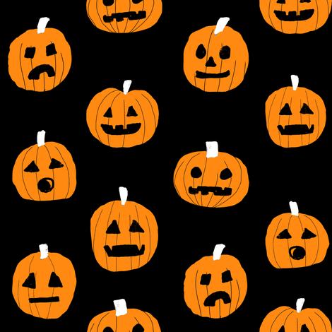 pumpkin halloween cute fabric  jack-o'-lantern black  fabric by charlottewinter on Spoonflower - custom fabric